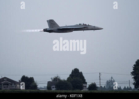 August 11, 2017 - Abbotsford, British Columbia, Canada - A United States Navy Boeing F/A-18F Super Hornet fighter - Stock Photo