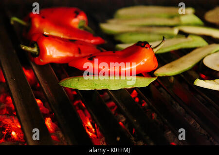Various Vegetables on a Coal Grill - Stock Photo