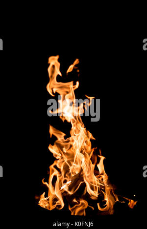 Flames on pure black background - Stock Photo