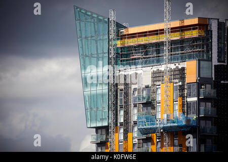 Manchester Northern Quarter Skyline Central has its cladding removed after Grenfell fire - Stock Photo