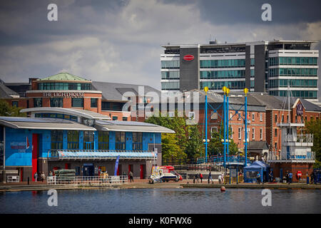 Manchester MediaCityUK at Salford Quays, Helly Hansen Watersports Centre on the waterfront docks Central Bay - Stock Photo