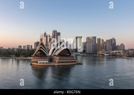 Sunrise At Sydney Opera House And Downtown City Central Business District (CBD), Skyline With Circular Quay Australia - Stock Photo