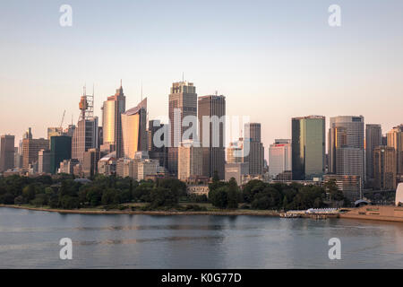 Early Morning Sunrise Sydney Downtown Central Business District (CBD) Skyline Including The Sydney Tower Eye Australia - Stock Photo