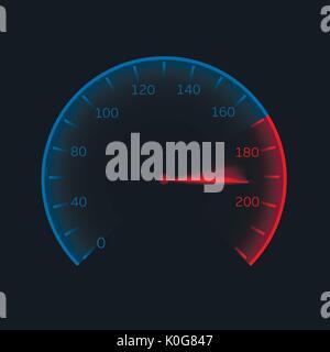 Digital speedometer illustration - Stock Photo