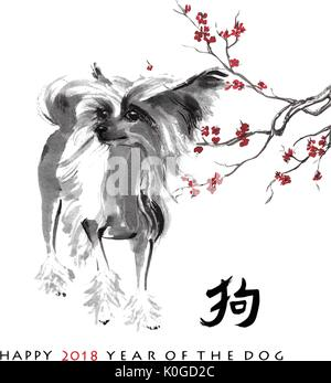 Greeting card Chinese new year. A Chinese crested dog and a branch of cherry blossom, oriental ink painting. With - Stock Photo