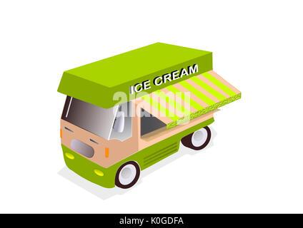 illustration of ice cream truck on white background - Stock Photo