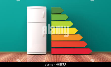 Fridge and energy efficiency rating. 3d illustration - Stock Photo