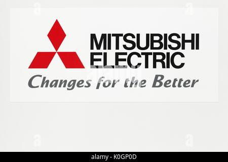 Mitsubishi Electric Company Logo On The Wall Group Stock