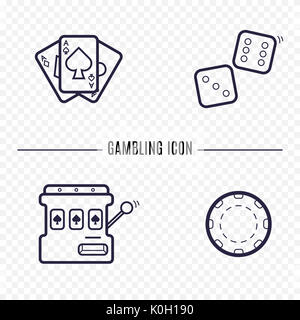 Gambling simple line icon. Card, dice, casino chip, slot mashine thin linear signs. Outline casino game simple concept - Stock Photo