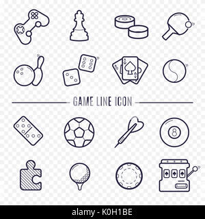 Games, videogames linear icons. Ping-pong, chess, golf, billiards, darts, gambling, bowling and other leisure activities. - Stock Photo