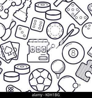 Sport games equipment, videogames simless pattern. Ping-pong, chess, golf, billiards, darts, gambling, and other - Stock Photo