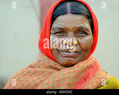 Elderly Indian Adivasi market woman with two golden nose studs and distinctive gold-and-gemstone nose jewellery, - Stock Photo