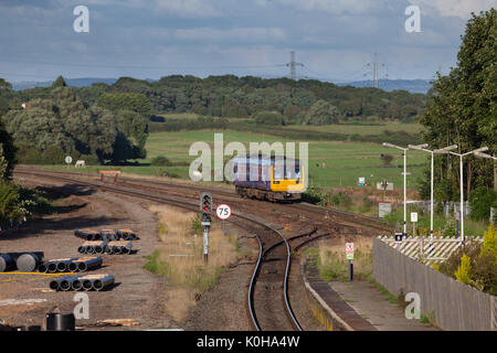 Northern Rail Pacer train arrives at  Kirkham & Wesham working the 1821 Colne - Blackpool South  (works underway - Stock Photo