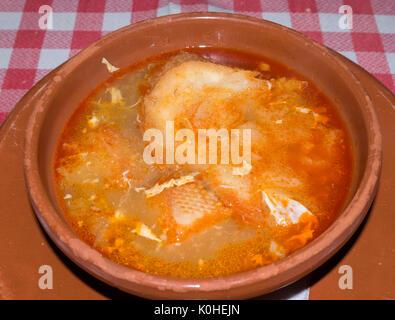 Sopa de ajo. Alcalá de Henares. Madrid. España - Stock Photo