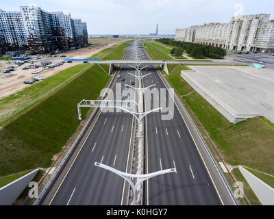ST. PETERSBURG, RUSSIA-CIRCA AUG, 2017: Aerial view at Western High Speed Diameter (WHSD) near Finnish Gulf and - Stock Photo