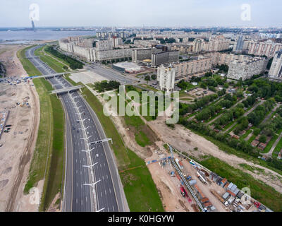 ST. PETERSBURG, RUSSIA CIRCA AUG, 2017:  The Western High Speed Diameter (WHSD) highway passes on Vasilyevsky Island - Stock Photo
