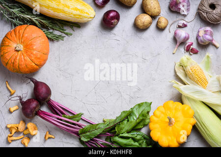 Variation of fresh colorful vegetables. Autumn food frame. Top view, copy space. - Stock Photo