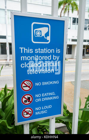 Florida, Miami, Metromover, station, public transportation, sign, closed circuit television, camera monitored, no - Stock Photo