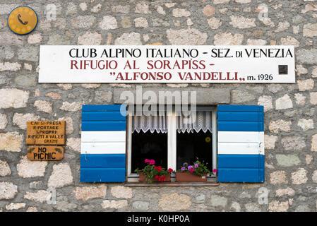 Sorapiss, Dolomites, Veneto, Italy. Window at the Reguges Vandelli - Stock Photo