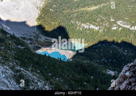 Sorapiss, Dolomites, Veneto, Italy. The Sorapiss Lake - Stock Photo