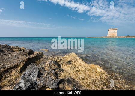 Porto Cesareo, province of Lecce, Salento, Apulia, Italy. The Chianca Tower - Stock Photo