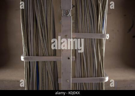 Bundles of wires in the Milton S. Eisenhower Library on the Homewood campus of the Johns Hopkins University in Baltimore, - Stock Photo