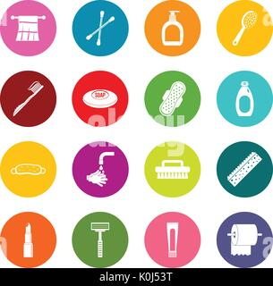 Hygiene tools icons many colors set - Stock Photo