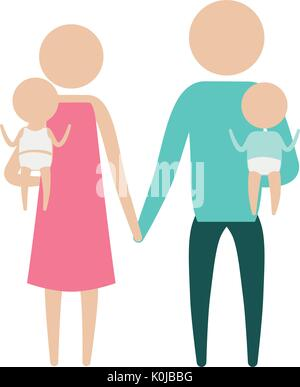color silhouette pictogram parents with a baby boy and girl carrying - Stock Photo
