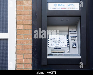 Barclays bank: out of order ATM. UK - Stock Photo