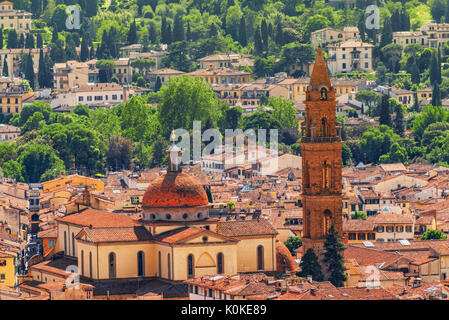 Beautiful landscape above urban and historical view of the Florence from Giotto's Belltower (Campanile di Giotto). - Stock Photo