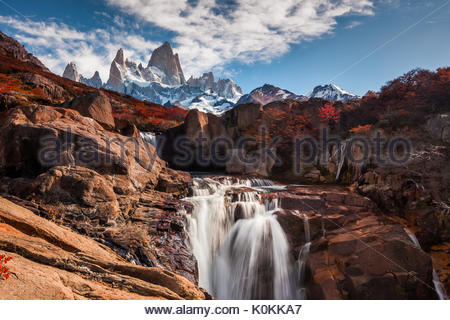 Beautiful view with waterfall and Fitz Roy mountain. Patagonia, Argentina - Stock Photo
