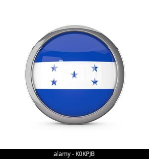 Honduras national flag in a glossy circle shape with chrome frame. 3D Rendering - Stock Photo