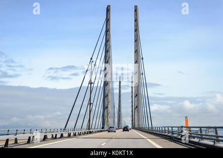 MALMO, SWEDEN - JULY 24, 2017:Traffic on the great Oresund bridge between Malmo in Sweden and Denmark. - Stock Photo