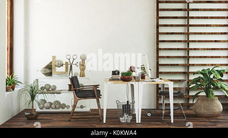 White tables and black wooden chairs and green leafy plants in front of white wall and wooden shelves on wall - Stock Photo