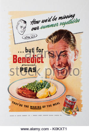 Vintage Food Advertisement Poster advertising Benedict canned processed peas - Stock Photo