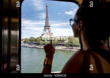 Woman in Paris subway train - Stock Photo
