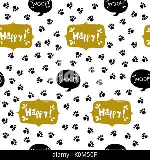 Paw print seamless. Traces of Cat Textile Pattern. - Stock Photo