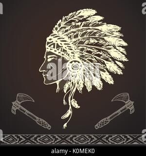 North American Indian chief with tomahawk, hand drawn vector - Stock Photo