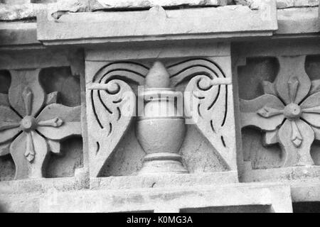 old vintage photo of relief carved on wall, Agra, uttar Pradesh, India, Asia 1900s - Stock Photo