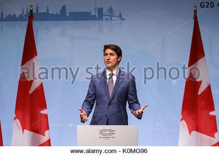 Der Kanadische Premierminister Justin Trudeau bei der Abschlusspressekonferenz beim G20 Gipfel in den Messehallen - Stock Photo