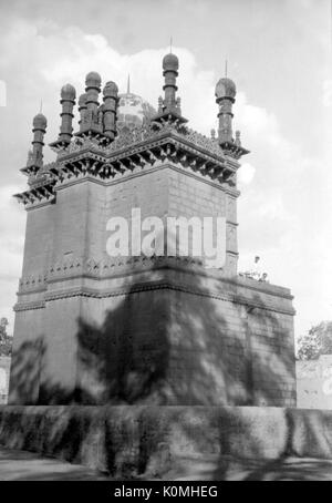 old vintage lantern slide of ibrahim roza, bijapur, Karnataka, India, Asia, 1900s - Stock Photo