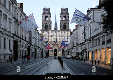 Exterior of the west end of the cathedral in Orleans, France from the Rue Jeanne d'Arc. - Stock Photo