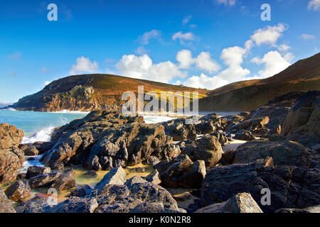 A view of Portheras Cove on the north coast of Cornwall, UK - Stock Photo