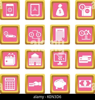 Credit icons pink - Stock Photo