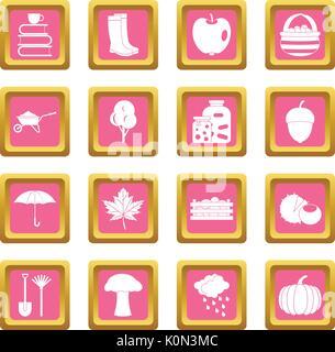 Autumn icons pink - Stock Photo