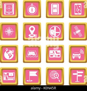 Navigation icons pink - Stock Photo