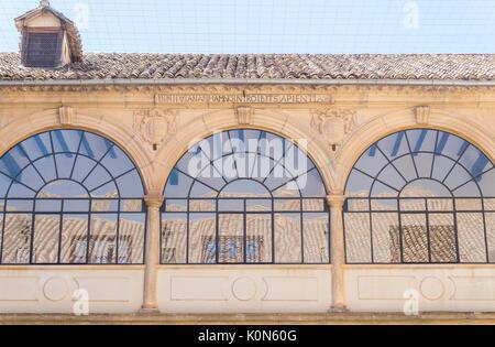 San Juan Evangelista University chapel cloister windows, old university, Baeza, Spain - Stock Photo