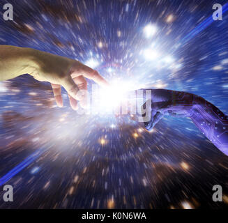 AI Artificial Intelligence cyborg hand of god reaches to human fingers to create a singular intelligent understanding - Stock Photo