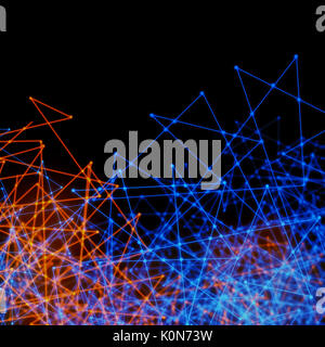 Plexus style effect tech background of futurtic mesh of wires and triangles - Stock Photo