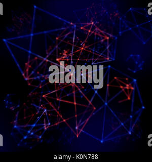 Plexus style effect tech mesh background of futurtic wires and triangles in a network pattern - Stock Photo